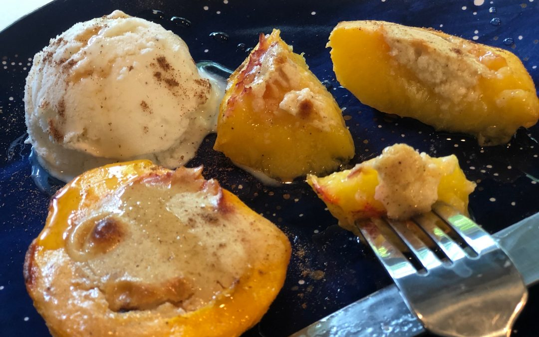 Sweet 'n Tart Baked Peaches with Cream Cheese Centers
