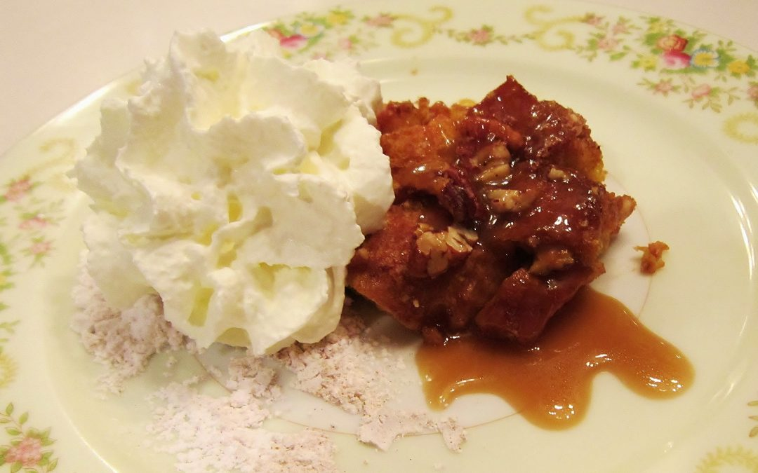 Pumpkin Pecan Bread Pudding with Praline Sauce and Crème