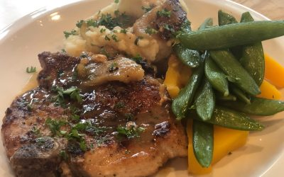KB's Amazing Skillet Pork Chops stuffed with Apple and White Cheddar