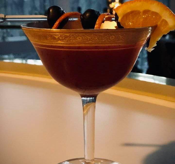 Muddled Blueberry Martini Kissed with Orange