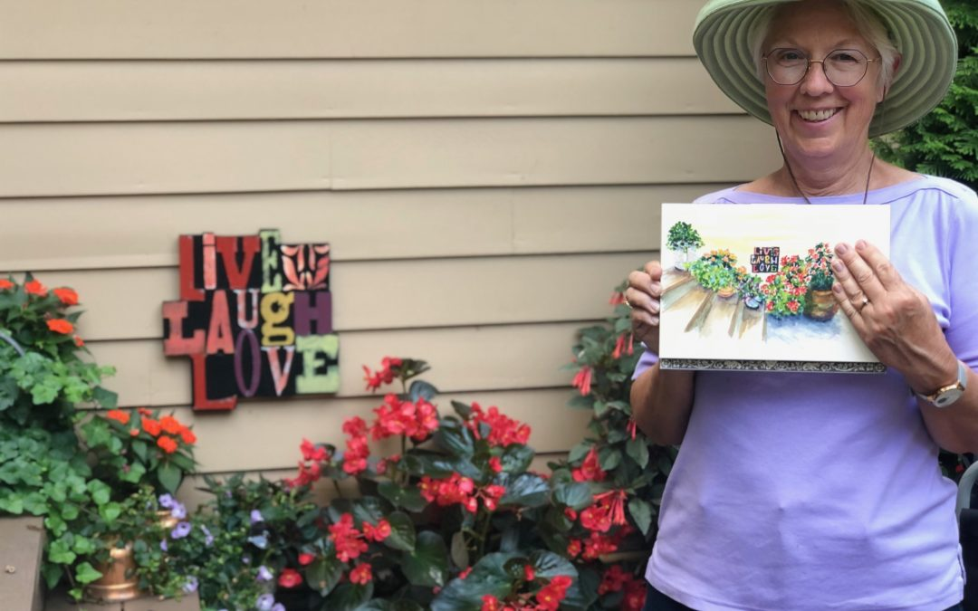 Plein air paint out in the gardens at Hilltop Haven