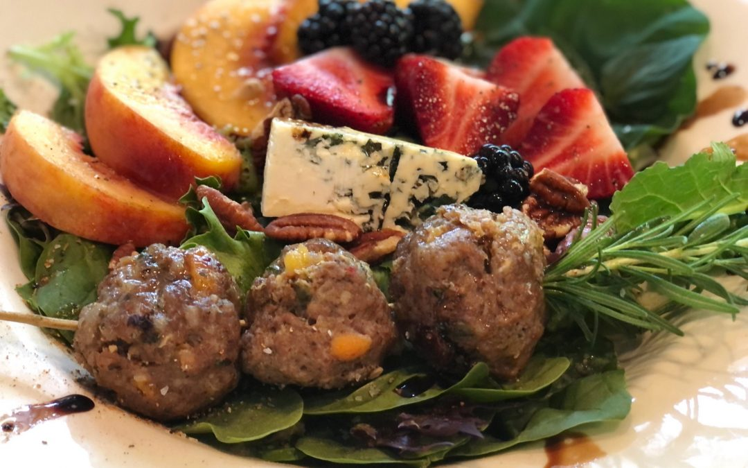 Peach Salad with Fruited and Spicy Sausage Balls & Lively Maple Vinaigrette