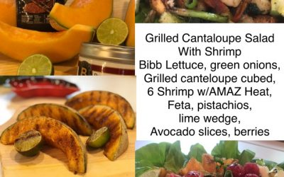 Grilled Canteloupe Salad with Shrimp